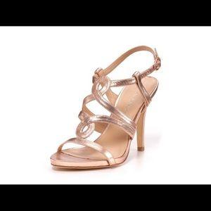 Via Spiga Italy Rose Gold Leather Stilettos Sz 7